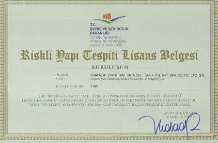 riskli yapı tespiti lisans belgesi